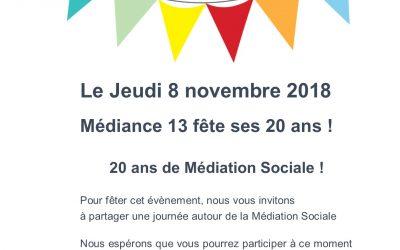 SAVE THE DATE : Anniversaire 20 ans Médiance 13